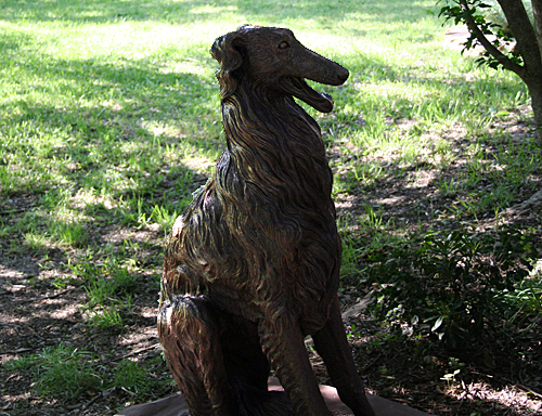 borzoi statue in the garden